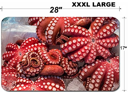Luxlady Large Table Mat Non-Slip Natural Rubber Desk Pads IMAGE ID: 35592186 Red live octopus at Tsukiji fish market Tokyo Japan ()