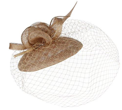 Gemvie Vintage Fascinator Floral Feather Hat Netted Veil Headband Hair Clip - Brown Disc Iris