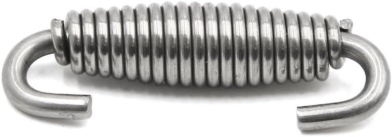Sourcingmap 2/pcs 55/mm en acier inoxydable Argent/é pour moto Tuyau d/échappement Ressorts Crochets