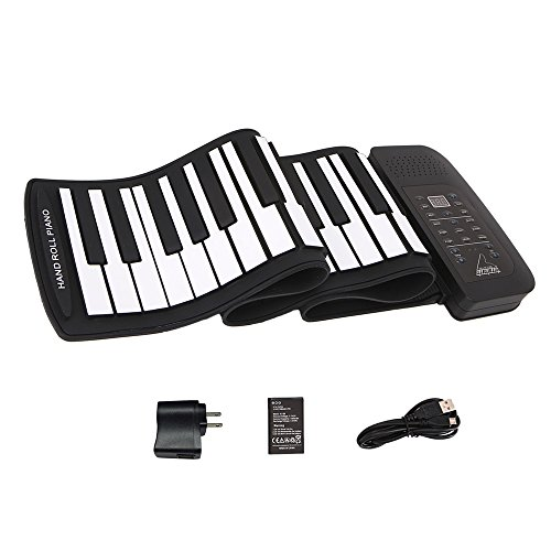 Roll up piano portable 61 key soft elastic electronic music keyboard piano built-in loudspeaker rechargeable battery for beginners gift by JIAFU