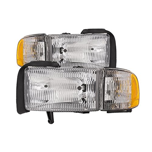 HEADLIGHTSDEPOT Halogen Headlights Compatible with Dodge Ram 1500 2500 3500 Includes Left Driver and Right Passenger Side Headlamps