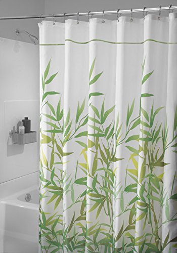 mdesign-bamboo-leaf-fabric-shower-curtain-stall-54-x-78-green