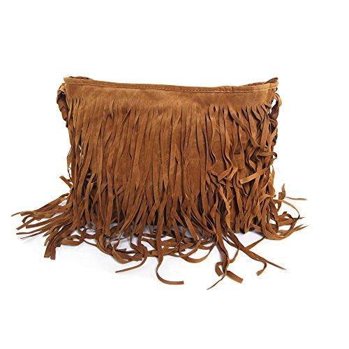 Jambo Celebrity Fringe Brown Tassel Cross Body Tote Shoulder Handbags Delivered From Us