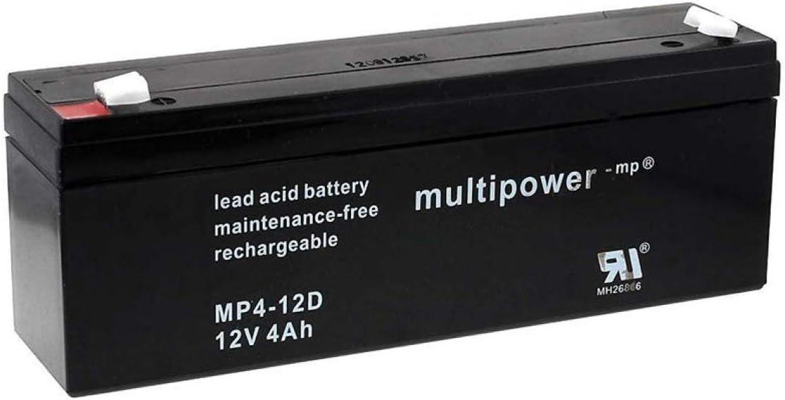 Powery Recambio de Batería para SAI Batería de GEL Aplicaciones Solares 12V 4Ah (Reemplaza también 4,5Ah)