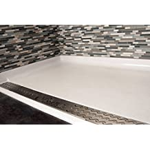 """Shower Pan 60x36"""" Barrier-Free, Roll-in TRENCH Drain .1"""" beveled threshold and inset for tile or river rock floor"""