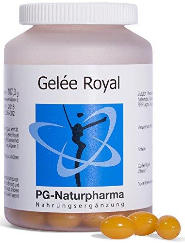 Gelee Royal, 150 Kapseln mit Vitamin E, 166,6 mg Gelée Royal (entspr. 500mg frischem Gelee Royale) und 7,2 mg Vitamin E, hoher Anteil an 10-HDA (min. 4,5%), KEIN PULVER, hergestellt in Deutschland