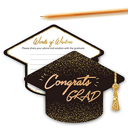 Graduation Advice Wishes Card - Words of Wisdom Cards for Graduate - Graduation Party Gift Ideas for High School or College Graduation Party - 5 x 7 Inches - Set of 30 (Academic Cap Shape) (Best College Graduation Party Ideas)