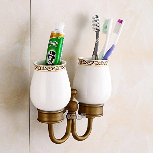 - YoungE Antique Brass Bathroom Accessories Wall-Mounted Double Toothbrush Holder Cup Holder With Two White Ceramic Tumbler