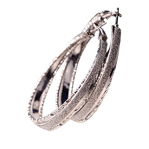 Frosted Hoop Earring- Women Big Hoop Retro Alloy Earrings Jewelry for Wedding Party, Daily Use (Daily Costume)