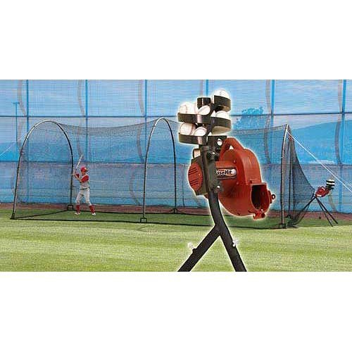 BaseHit & Xtender 24 System - Real Ball Pitching Machine & 24' x 12' x 12' Home Batting Cage Combo (Machine And Cage Pitching)