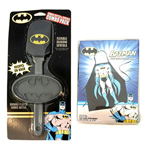 DC Comics Batman Kids Baking Bundle with Apron, Spatula & Cookie Cutter (3 Items)