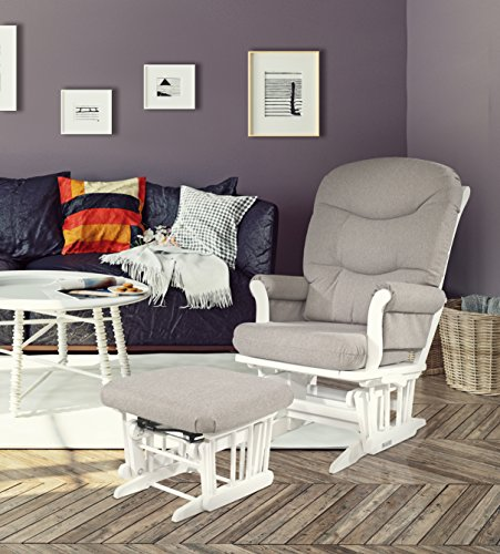 [Dutailier Sleigh Glider-Multiposition, Recline and Ottoman Combo, WHITE FRAME/LIGHT GREY CUSHION] (Reclining Glider And Ottoman)