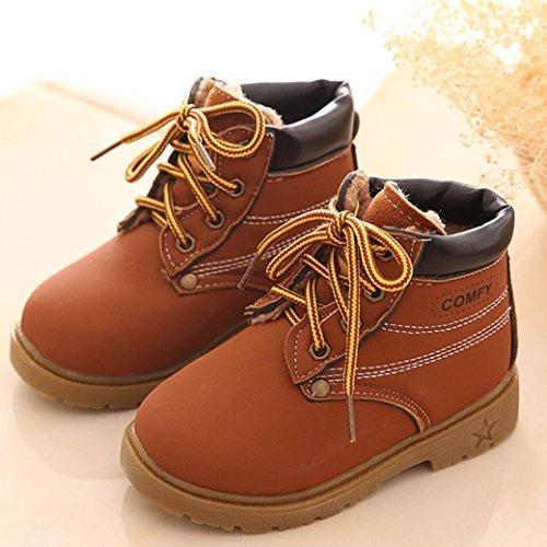 Longra Stiefel Kinder Martin Armee Brown Stil Babyschuhe warme Jungen Winter YAqwrY
