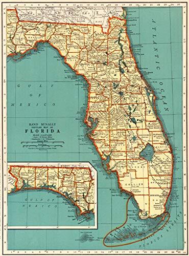 Original Antique Wall Map - 1937 Antique Florida State Map Original Vintage Map of Florida Print Not a Reprint Home Office Decor Gallery Wall Art #1173
