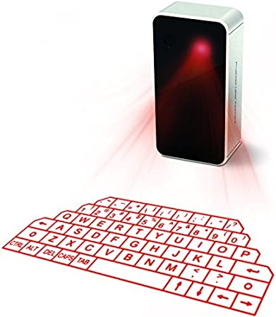 VMARI Projection Keyboard Virtual Wireless Bluetooth Portable Virtual Holographic Keyboard Ideal Compatible Accessory for PC Smart Phone Digital Typer Table Grey
