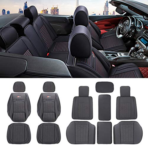 QGT Universal Car Seat Cushion Leather Seat Cover, Five Seats: