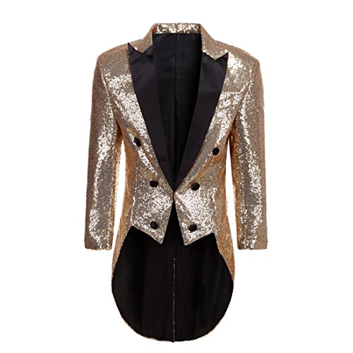 PYJTRL Mens Fashion Colorful Sequins Tailcoat Tuxedo (Gold, XL/44R) -