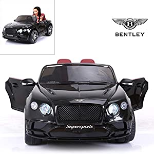 Bentley Continental Supersports Electric Ride On Car with Remote Control for Kids, 12V Power Battery Official Licensed Kids Car with 2.4G Radio Parental Control Opening Doors, Black by Modern-depo