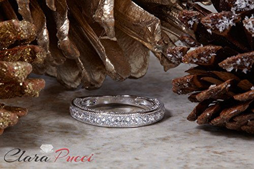 Clara Pucci 0.9 CT Round Cut Pave Set Wedding Bridal Eternity Engagement Band Ring 14k White Gold