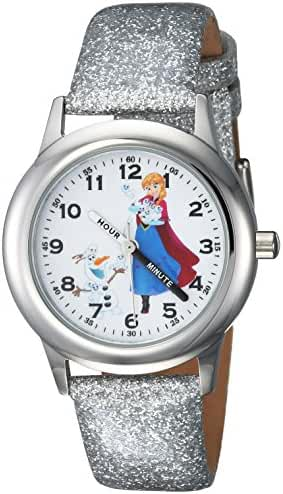 Disney Girl's 'Frozen Anna' Quartz Stainless Steel Casual Watch, Color:Silver-Toned (Model: WDS000196)