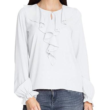 Sweatshirt Femme Chemisier Chic Sweat-Shirt Grande Taille Blouse Chemise A Manches  Longues Fille Sweat ca816c8876e5