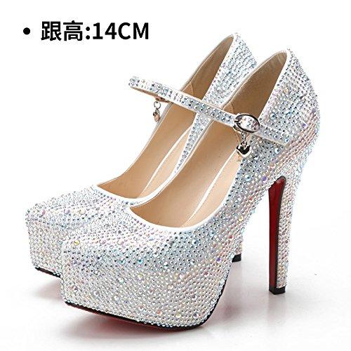 blanche rouge femelle sangle chaussures chaussures mariage à Chaussures chaussures talons mariée chaussures de White 14CM diamond transparent Escarpins hauts soirée femme Talons hauts de HUAIHAIZ T8pCH0