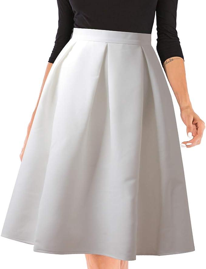 kefirlily Mujer 1950s Estilo Retro Plisada Falda de la Rodilla ...