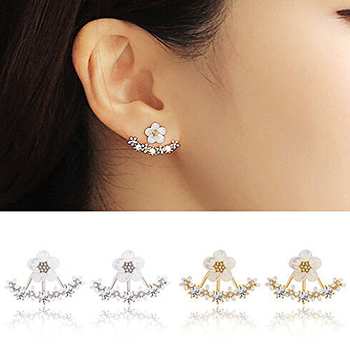 Floral Cuffs Studs Earings - Fashion Flower Crystal Wraps Ear Stud Jewelry Gift for Women Ladies,1.2cmX1.9cm (Gold) ()