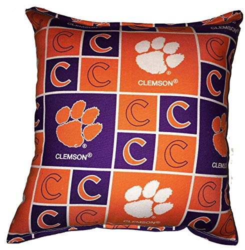 (Clemson Pillow Football Pillow Tigers Pillow NCAA HANDMADE In USA Pillow is approximately 10