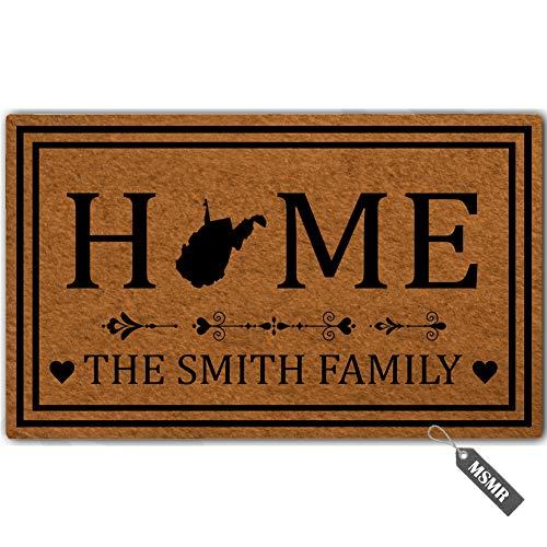 - MsMr Personalized [Your Name] Door Mat Indoor Outdoor Custom Doormat Decorative Home Office Welcome Mat West Virginia Door Mat 23.6