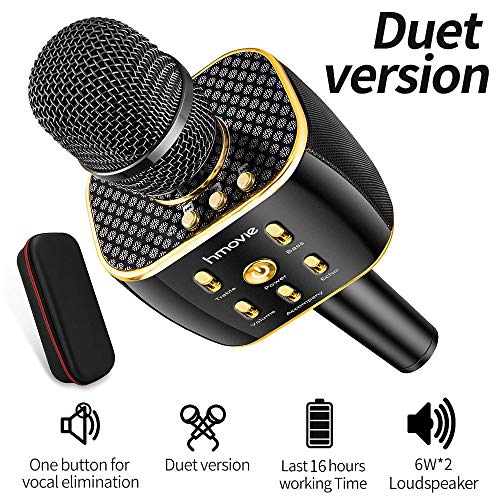 Dual Sing Duet Version Wireless Karaoke Microphone 12w Hi-Fi Bluetooth Speaker Player for iPhone Android Smartphone, The Latest in 2019