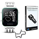 Garmin Approach S20 Golf GPS Watch (White) with USB Car Charge Adapter