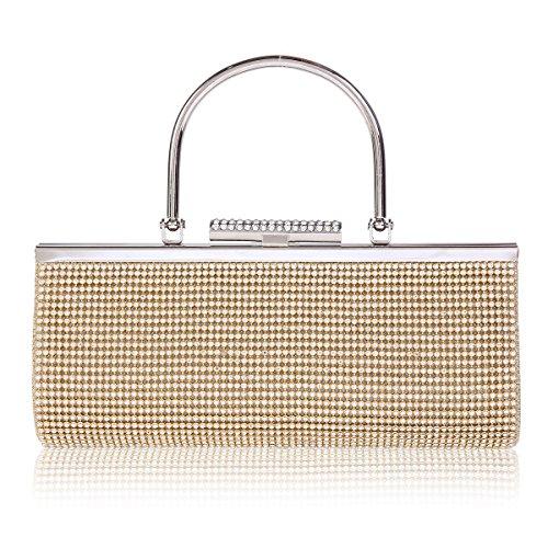 Damara Womens Allover Rhinestone Top Handle Evening Bag,Gold by Damara