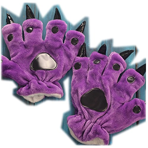Anime Halloween Theme Glove Paws Furry Realistic Sharp Claws Tiger Cat Fox Dinosaur Cosplay for costumes for kids (Purple) -