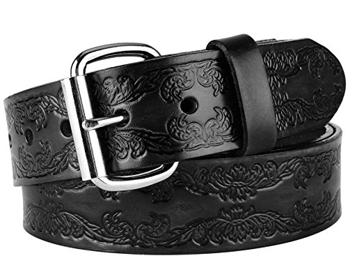 Men's Top Grain Western Classic Leather Dress Belt For Jeans,snaps, Roller buckle,1.5