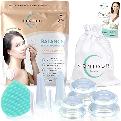 Facial Cupping AntiCellulite Cup Vacuum Massage Therapy Set - Fascia Blaster for Body and Face
