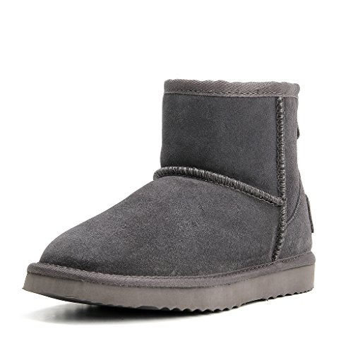 AUSLAND Women's Water Resistant Classic Leather Mini Snow Boots 5154 (5.5US, Grey) ()