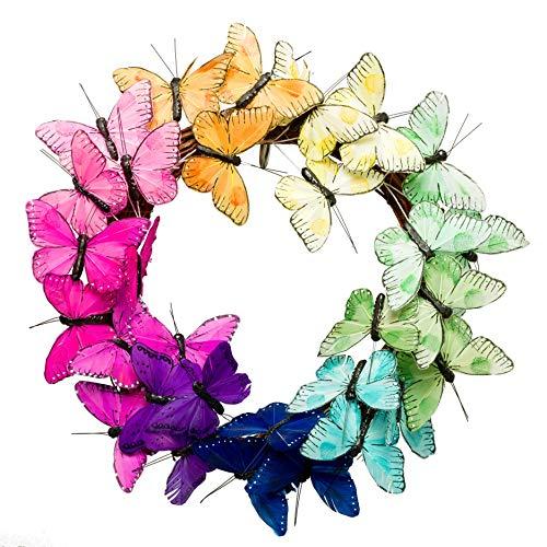 PINE AND PAINT LLC Butterfly Rainbow Wreath 14