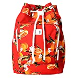 Dolce & Gabbana Multi-Color Orange Print Women's Drawstring Backpack Bag