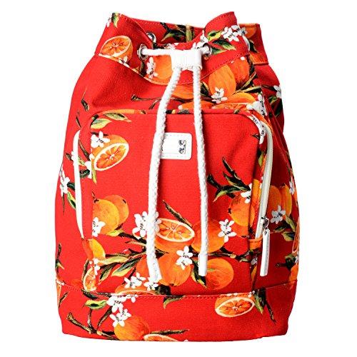 Dolce & Gabbana Multi-Color Orange Print Women's Drawstring Backpack Bag by Dolce & Gabbana