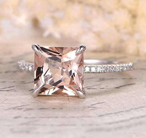 1.25 Carat Antique Design princess cut Morganite and Diamond Engagement Ring for Women In White - Engagement Diamond Princess Antique Ring