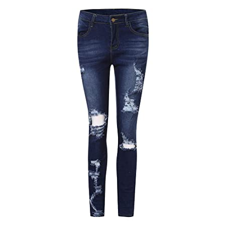 0ee985b94a Amazon.com  Kehen Fashion Women Distressed Denim Jeans Skinny Stretch Roll  Up Ripped Blue Jeans Trendy Pants  Sports   Outdoors