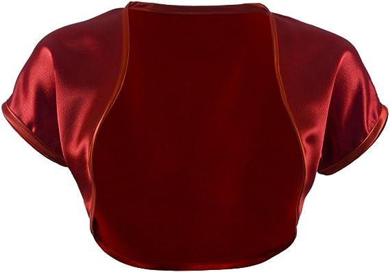 Grace /& Flair Ladies Bolero Shrug Silver Satin Short Sleeve Sizes 4-32
