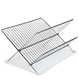 dish drain side - Finnhomy Chrome Finish 2 Tier Dish Drying Rack Chrome Folding Dish Drainer W/ a Drain Board, 15.5 Inch