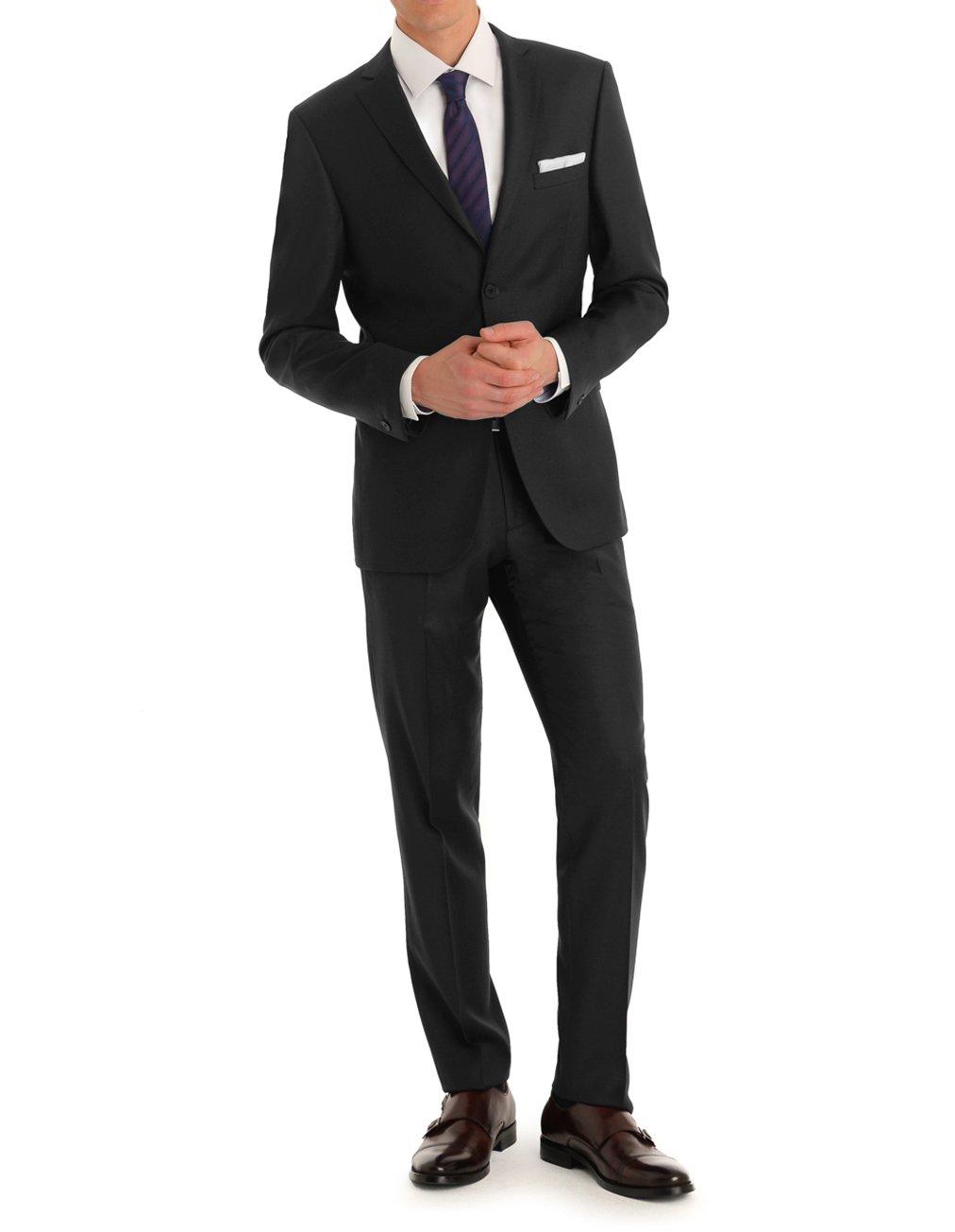 MDRN Uomo Men's Slim Fit 2 Piece Suit, Black, 46R/40W