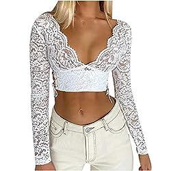 Snakell Dirndlbluse Damen Elegante Schwarz Weiß Dirndl Bluse Spitze Shirt Sexy Netz Top V-Ausschnitt Party Oberteile…