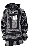 Yankee Forge Medium Baja Shirt - Black & White Stripe - Woven Hoodie - Soft Brushed Inside - Unisex Pullover
