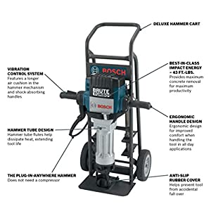 Bosch BH2770VCD 120-Volt 1-1/8 Hex Breaker Hammer Brute Turbo Deluxe Kit & HS2167 19 In. 5 In. Asphalt Cutter 1-1/8 In. Hex Hammer Steel