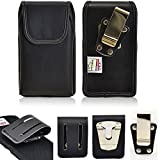 Genuine Leather Turtleback Vertical Rugged Heavy Duty Magnetic Case with Steel Clip and 3 inch Duty Belt Clip fits Samsung Note 5 with a Ballistic Tough Jacket case on it.