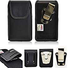 Genuine Leather Turtleback Vertical Rugged Heavy Duty Magnetic Case with Steel Clip and 3 inch Duty Belt Clip fits LG g4 with an Otterbox Defender or Commuter case on it.